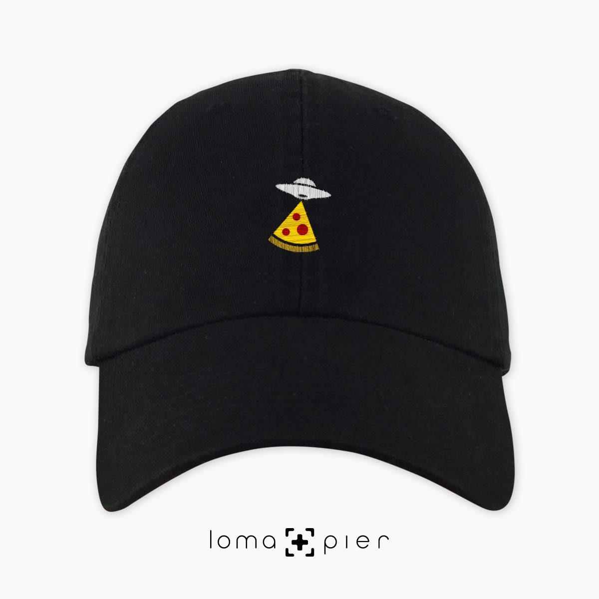 UFO PIZZA icon embroidered on a black unstructured dad hat with multicolor thread by loma+pier hat store made in the USA