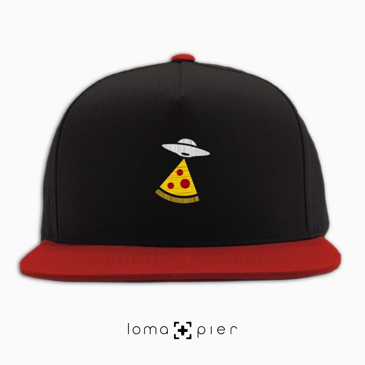 UFO PIZZA icon embroidered on a black and red classic snapback hat with multicolor thread by loma+pier hat store
