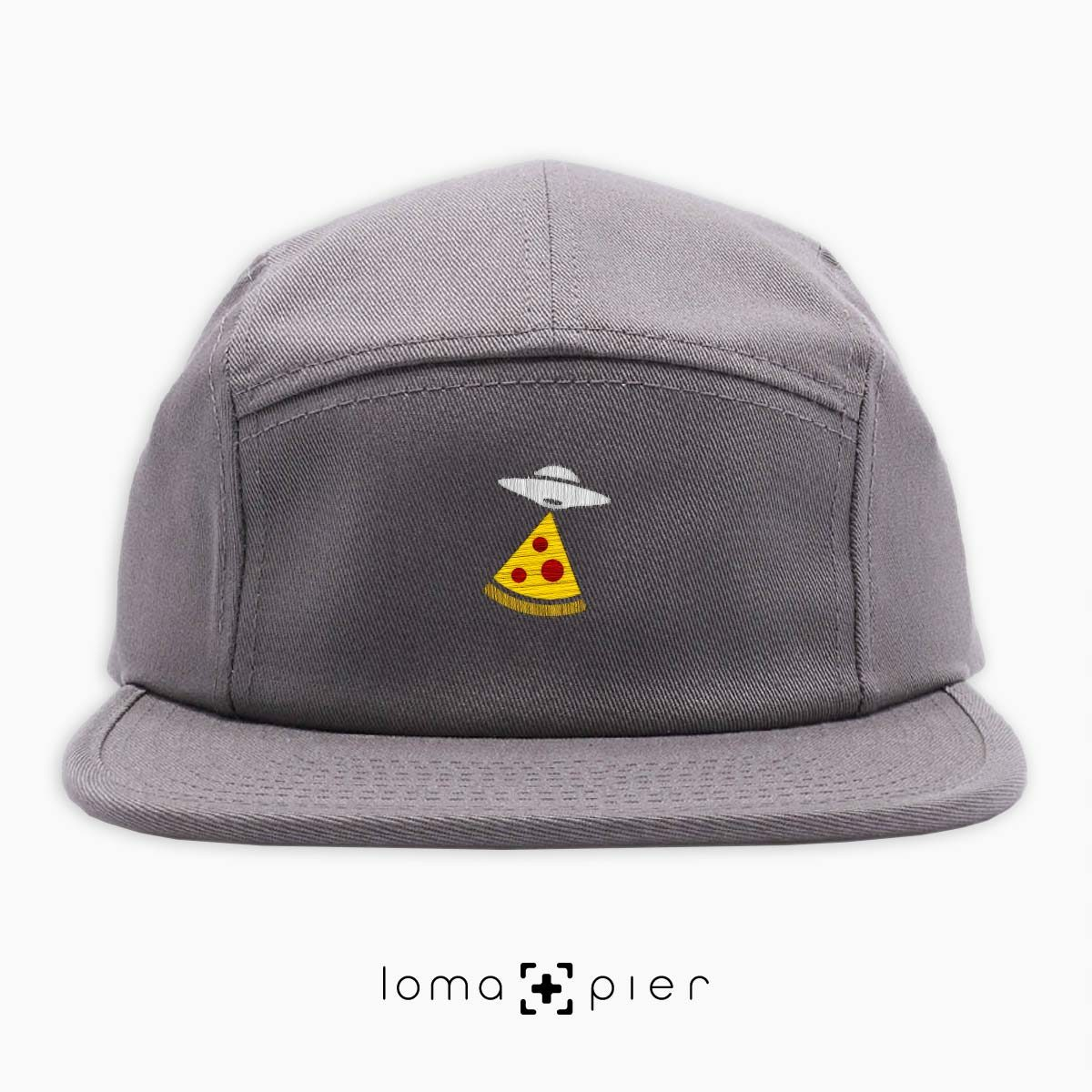 UFO PIZZA icon embroidered on a grey cotton 5-panel hat with multicolor thread by loma+pier hat store
