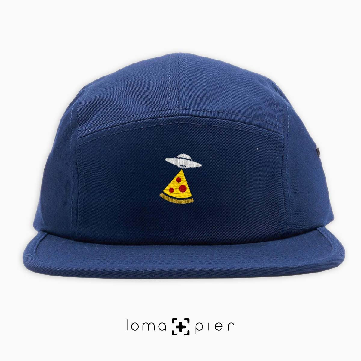 UFO PIZZA icon embroidered on a navy blue cotton 5-panel hat with multicolor thread by loma+pier hat store