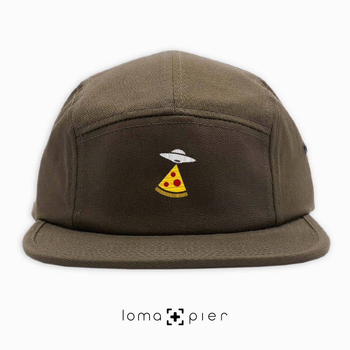 UFO PIZZA icon embroidered on an olive green cotton 5-panel hat with multicolor thread by loma+pier hat store