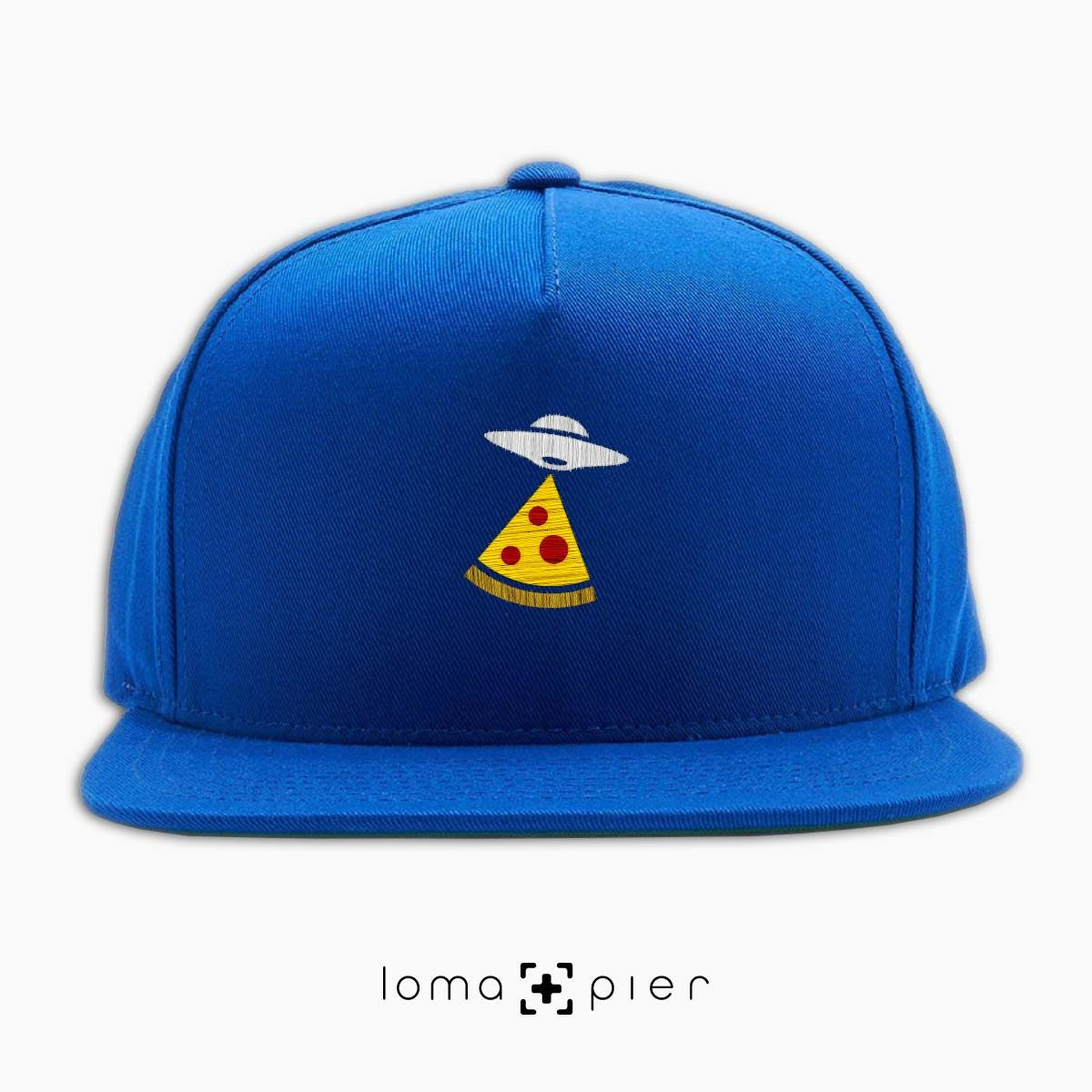 UFO PIZZA icon embroidered on a royal blue classic snapback hat with multicolor thread by loma+pier hat store