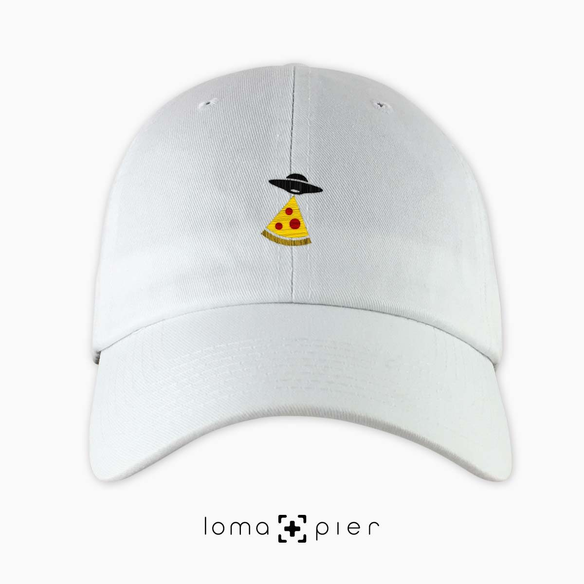 UFO PIZZA icon embroidered on a white unstructured dad hat with multicolor thread by loma+pier hat store made in the USA