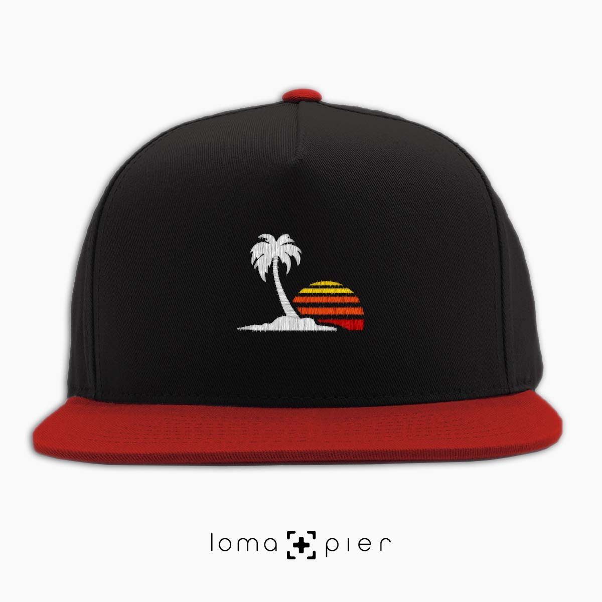 ​VENICE VIBES icon embroidered on a ​black and red classic snapback with multicolor thread by loma+pier hat store
