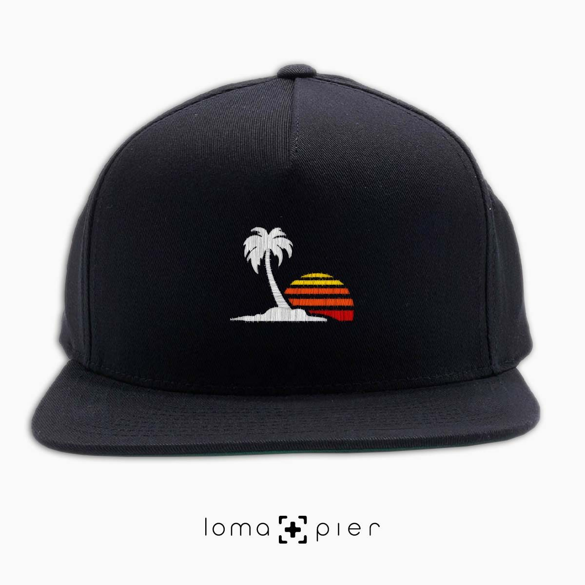 ​VENICE VIBES icon embroidered on a ​black classic snapback with multicolor thread by loma+pier hat store