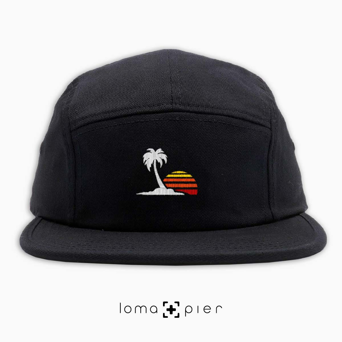 VENICE VIBES icon embroidered on a black cotton 5-panel hat with multicolor thread by loma+pier hat store