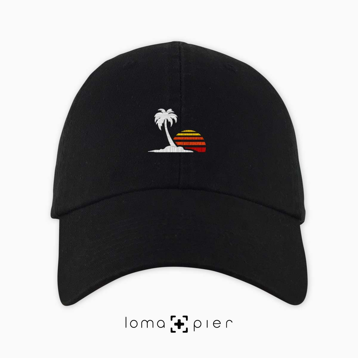 ​VENICE VIBES icon embroidered on a black unstructured dad hat with multicolor thread by loma+pier hat store made in the USA
