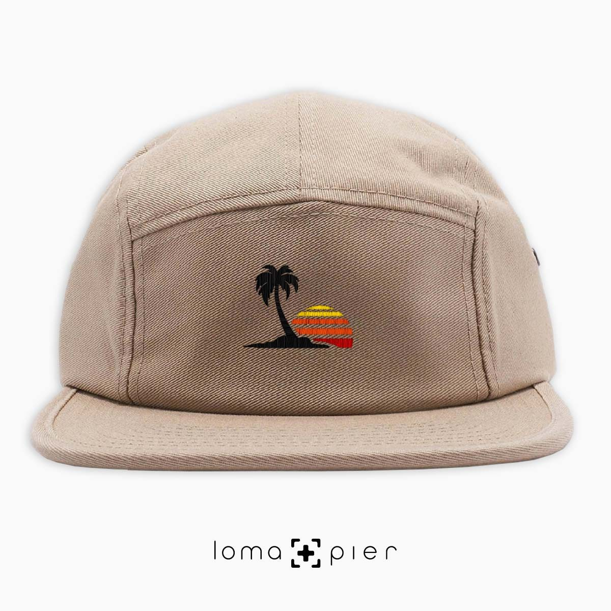 VENICE VIBES icon embroidered on a khaki cotton 5-panel hat with multicolor thread by loma+pier hat store