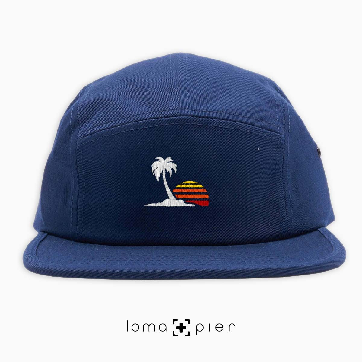 VENICE VIBES icon embroidered on a navy blue cotton 5-panel hat with multicolor thread by loma+pier hat store
