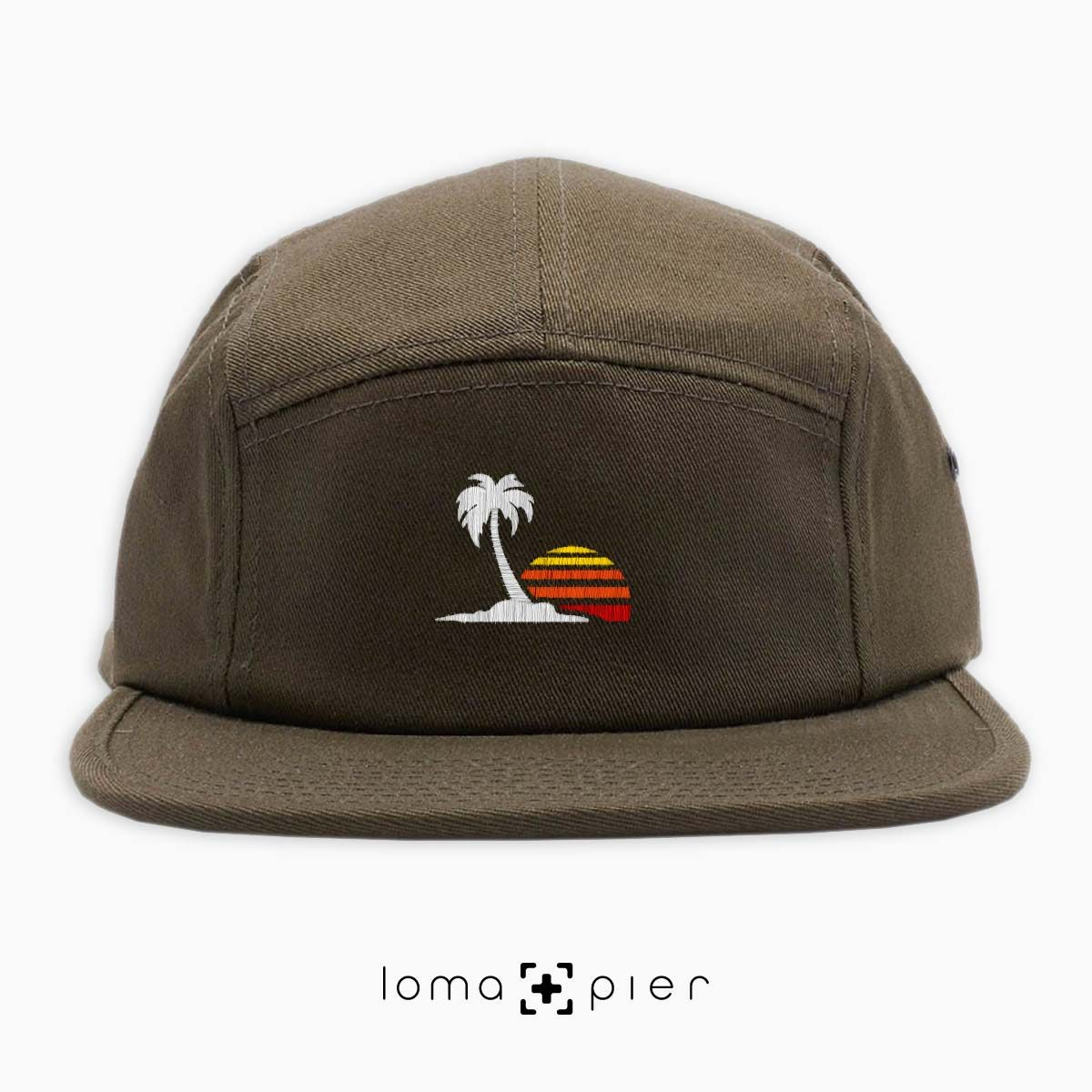 VENICE VIBES icon embroidered on an olive green cotton 5-panel hat with multicolor thread by loma+pier hat store
