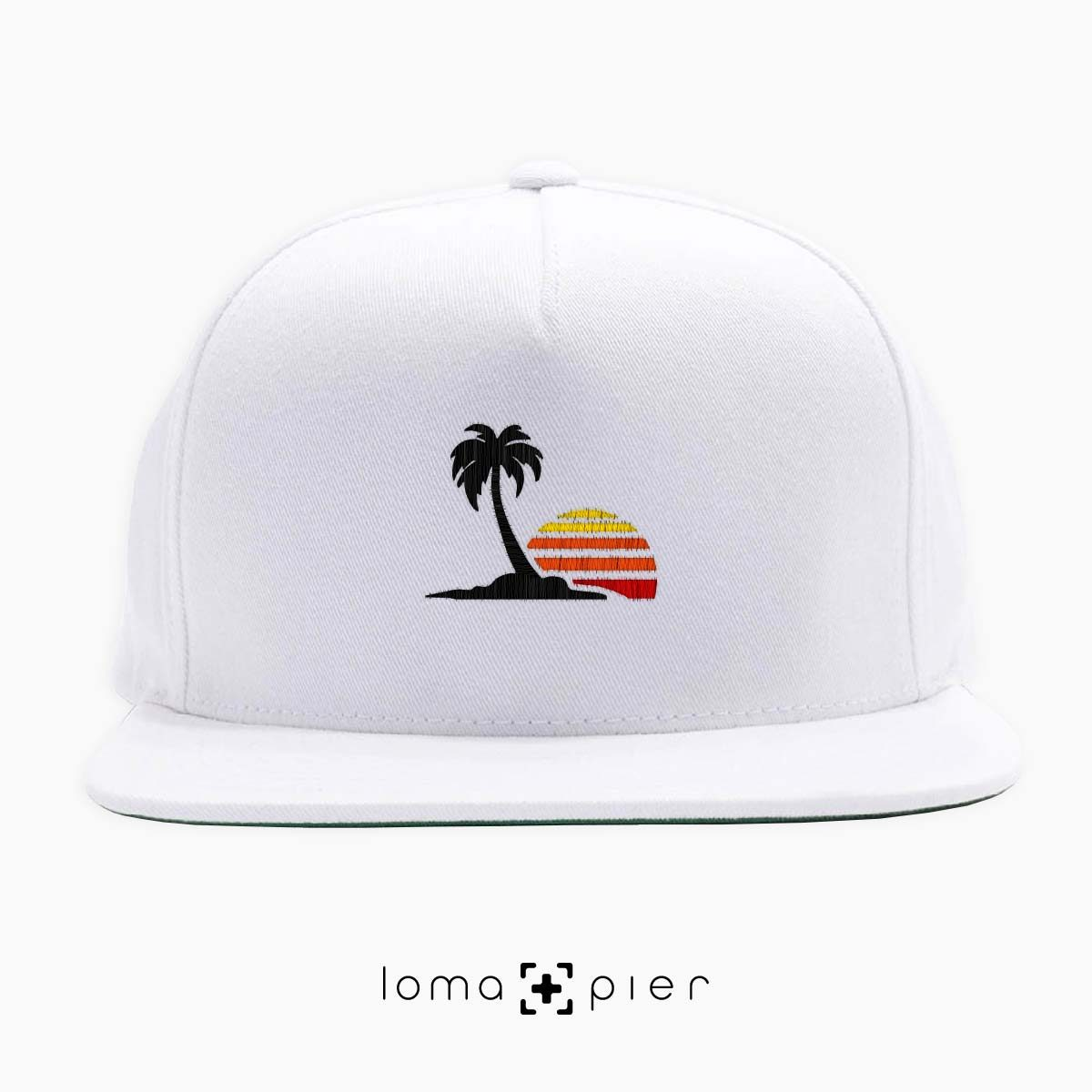 ​VENICE VIBES icon embroidered on a ​white classic snapback with multicolor thread by loma+pier hat store