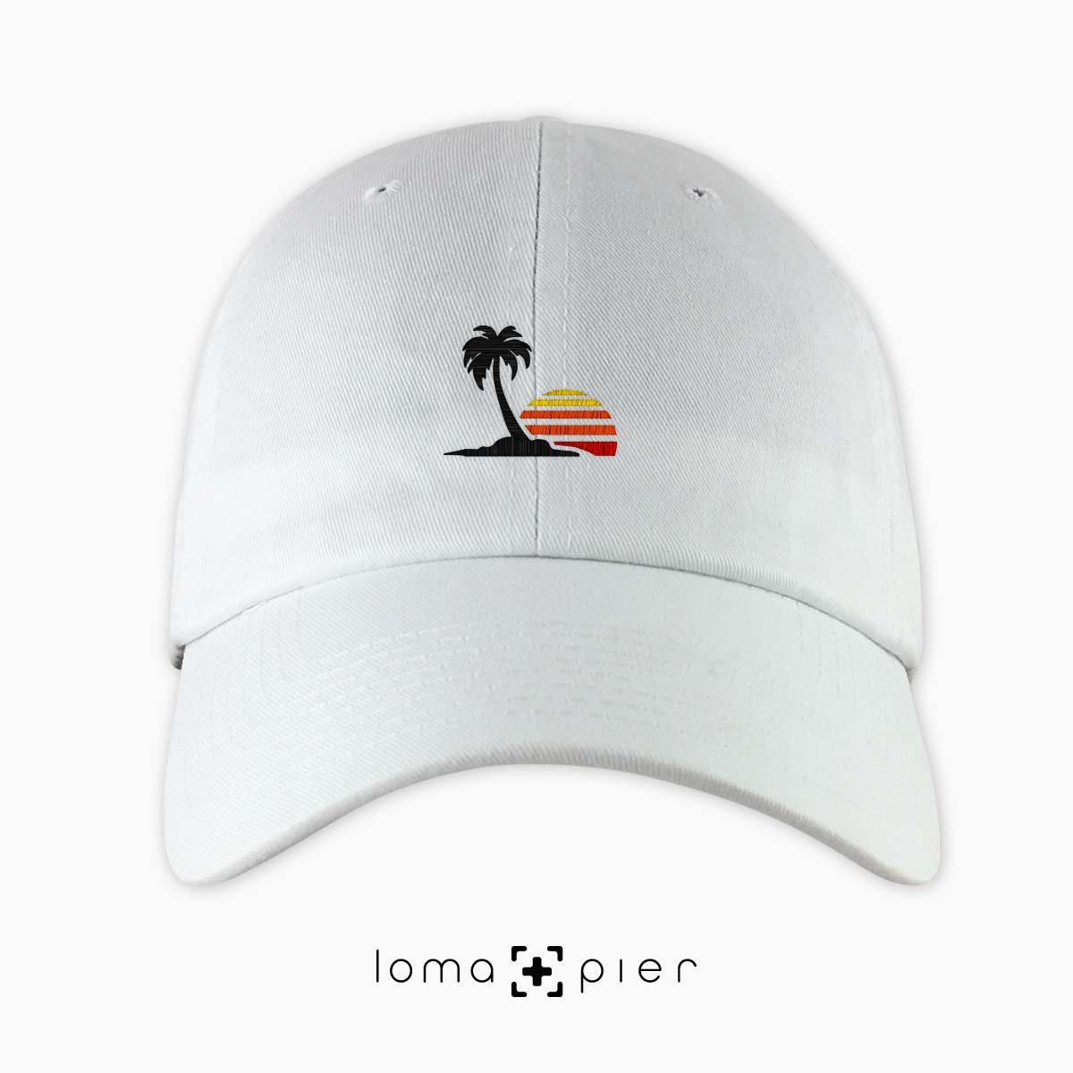 ​VENICE VIBES icon embroidered on a ​white unstructured dad hat with multicolor thread by loma+pier hat store made in the USA