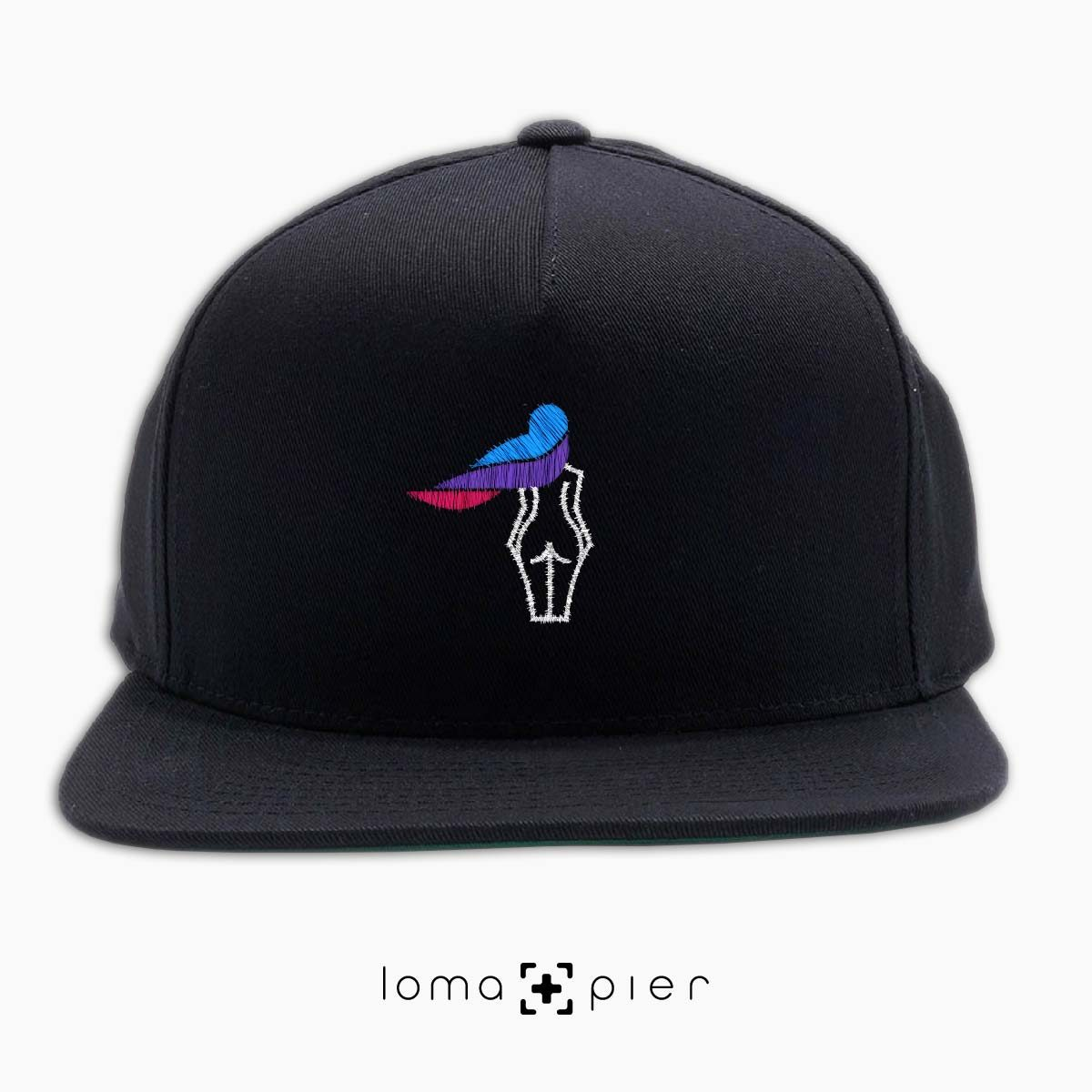 WAVY BEACH icon embroidered on a black classic snapback hat with multicolor thread by loma+pier hat store