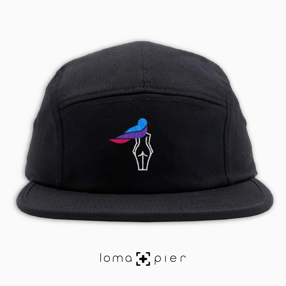 WAVY BEACH icon embroidered on a black cotton 5-panel hat with multicolor thread by loma+pier hat store