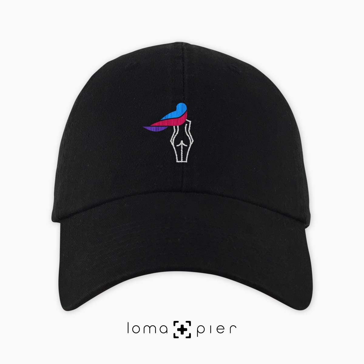 WAVY BEACH icon embroidered on a black unstructured dad hat with multicolored thread by loma+pier hat store made in the USA