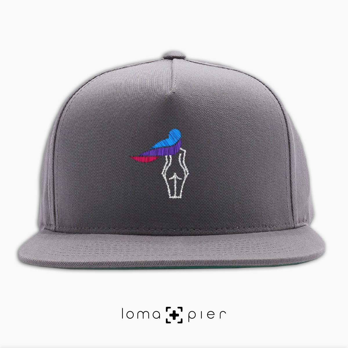 WAVY BEACH icon embroidered on a grey classic snapback hat with multicolor thread by loma+pier hat store