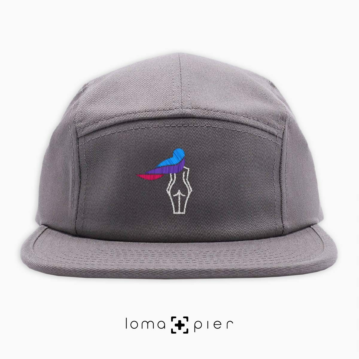WAVY BEACH icon embroidered on a grey cotton 5-panel hat with multicolor thread by loma+pier hat store