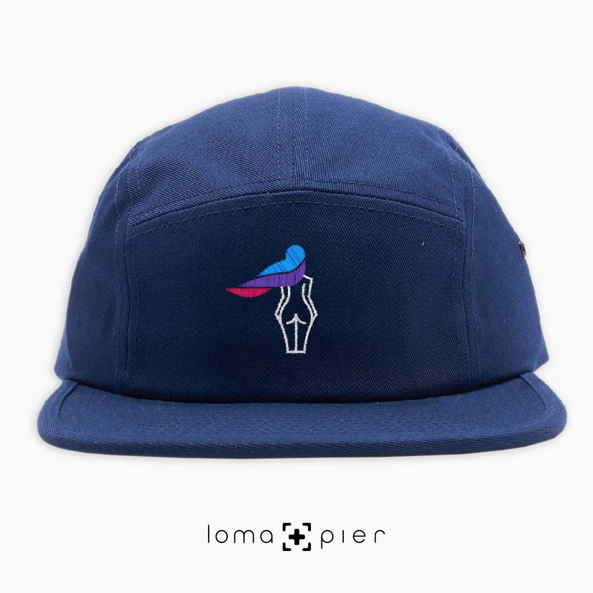 WAVY BEACH icon embroidered on a navy blue cotton 5-panel hat with multicolor thread by loma+pier hat store