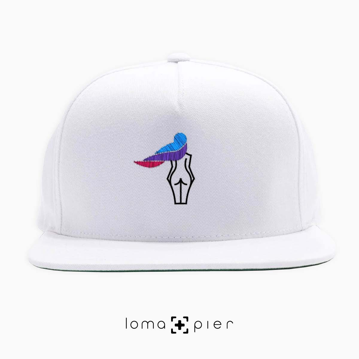 WAVY BEACH icon embroidered on a white classic snapback hat with multicolor thread by loma+pier hat store
