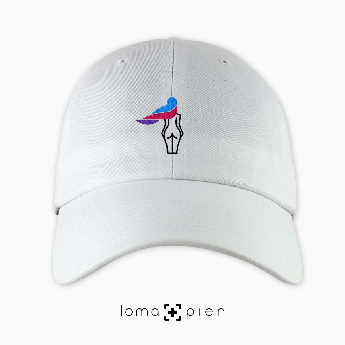 WAVY BEACH icon embroidered on a white unstructured dad hat with multicolored thread by loma+pier hat store made in the USA