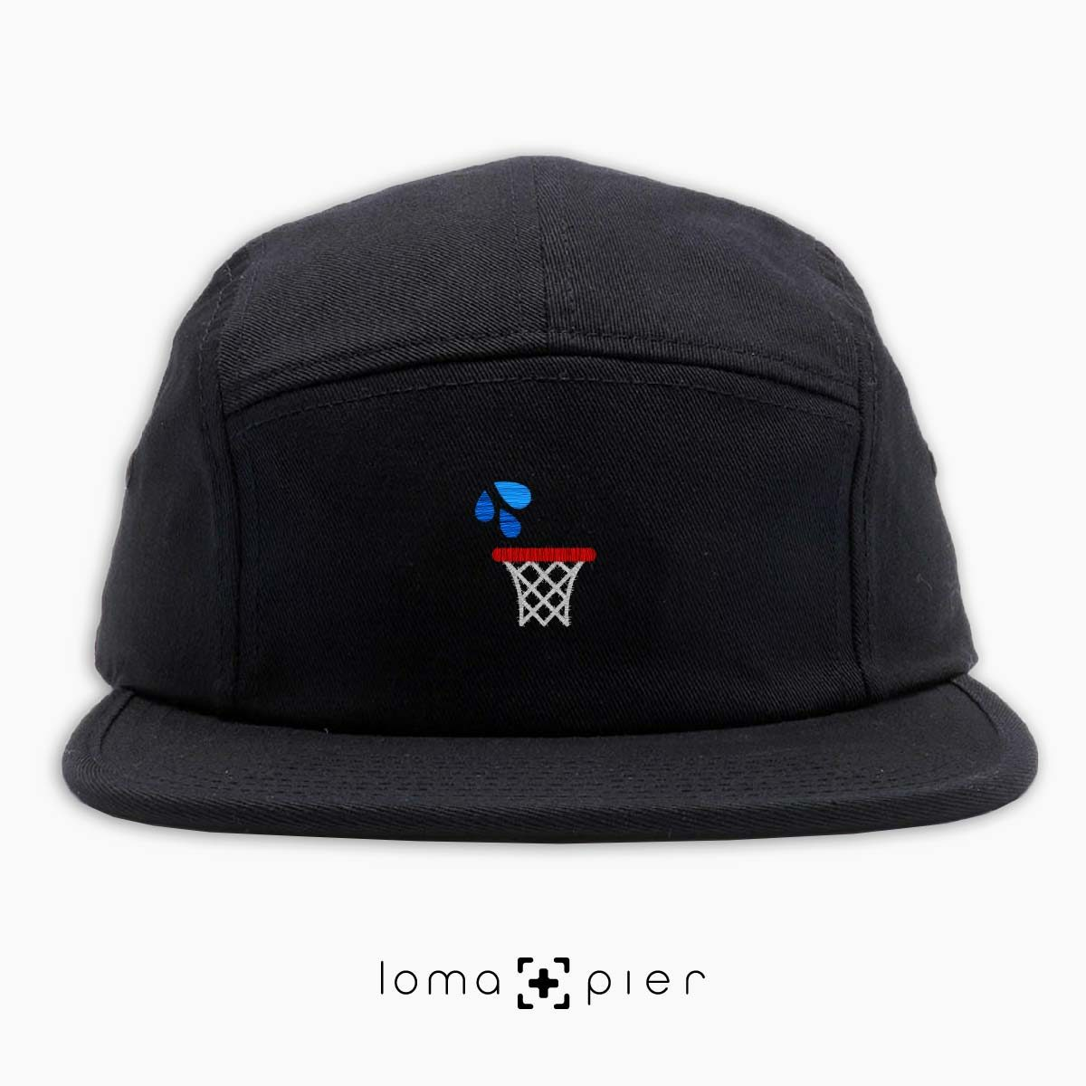 WET JUMPER basketball hoop icon embroidered on a black cotton 5-panel hat by loma+pier hat store