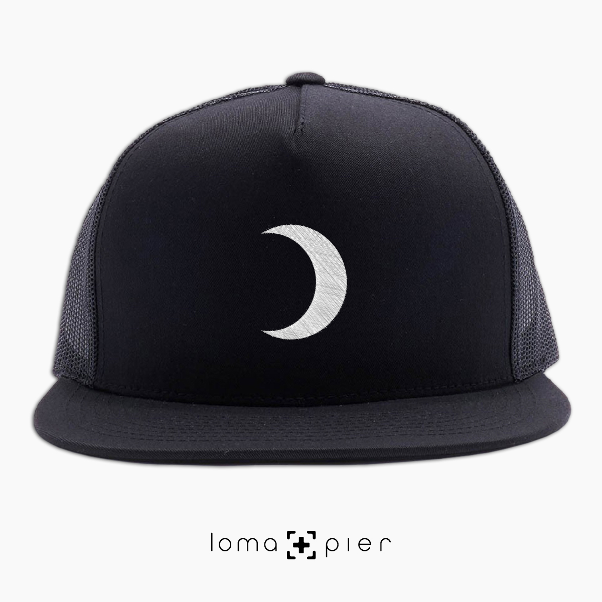 MOON icon beach netback trucker hat in white by loma+pier hat store