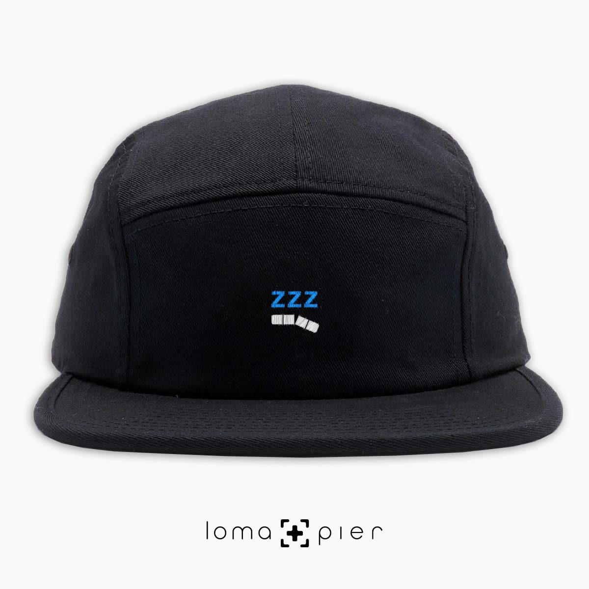 ZZZ-ANNY icon embroidered on a black cotton 5-panel hat with white and sky blue thread by loma+pier hat store