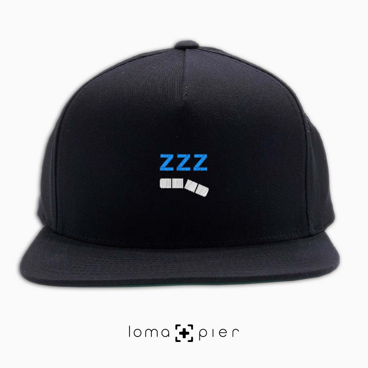 ZZZ-ANNY icon embroidered on a black classic snapback hat with white and sky blue thread by loma+pier hat store