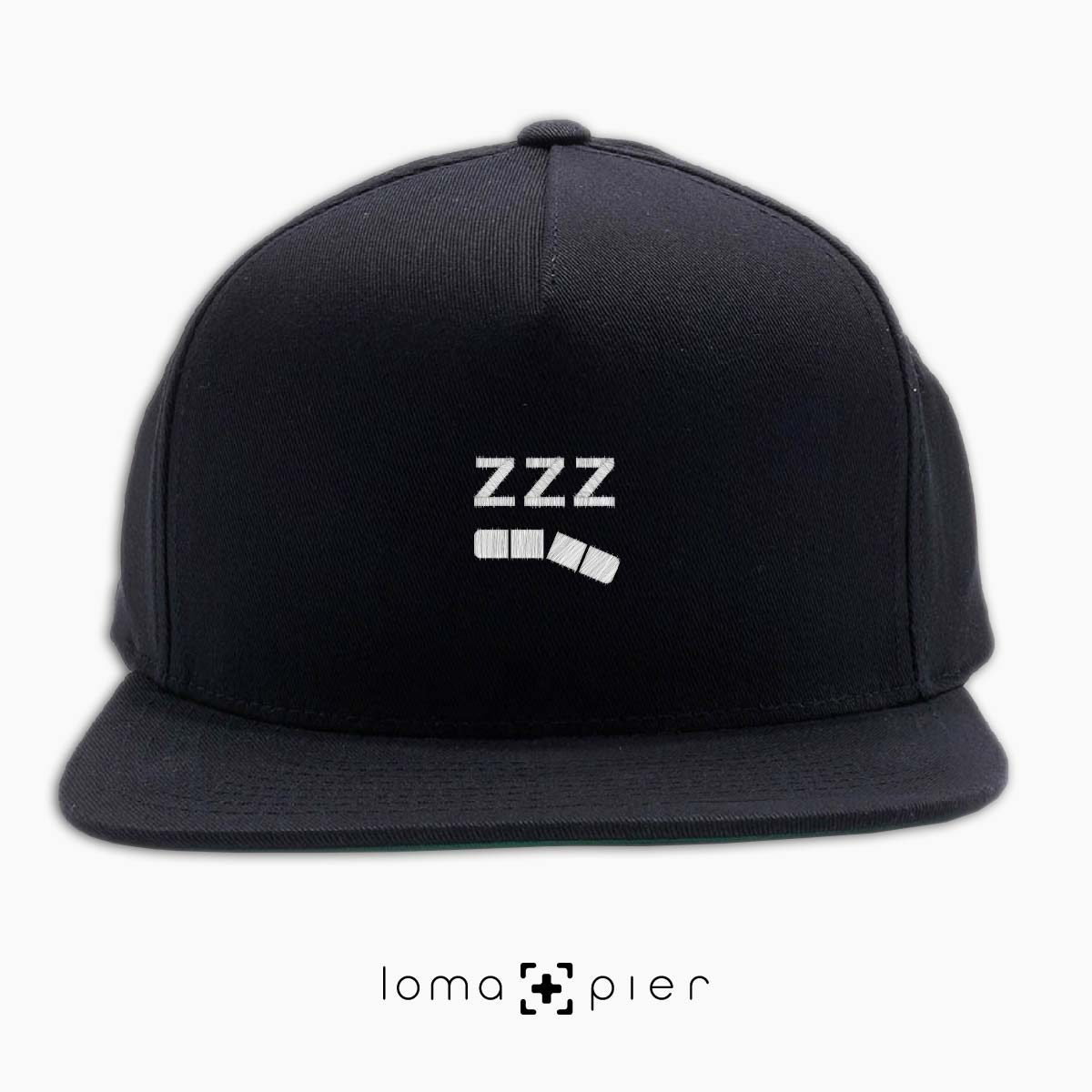 ZZZ-ANNY icon embroidered on a black classic snapback hat with white thread by loma+pier hat store