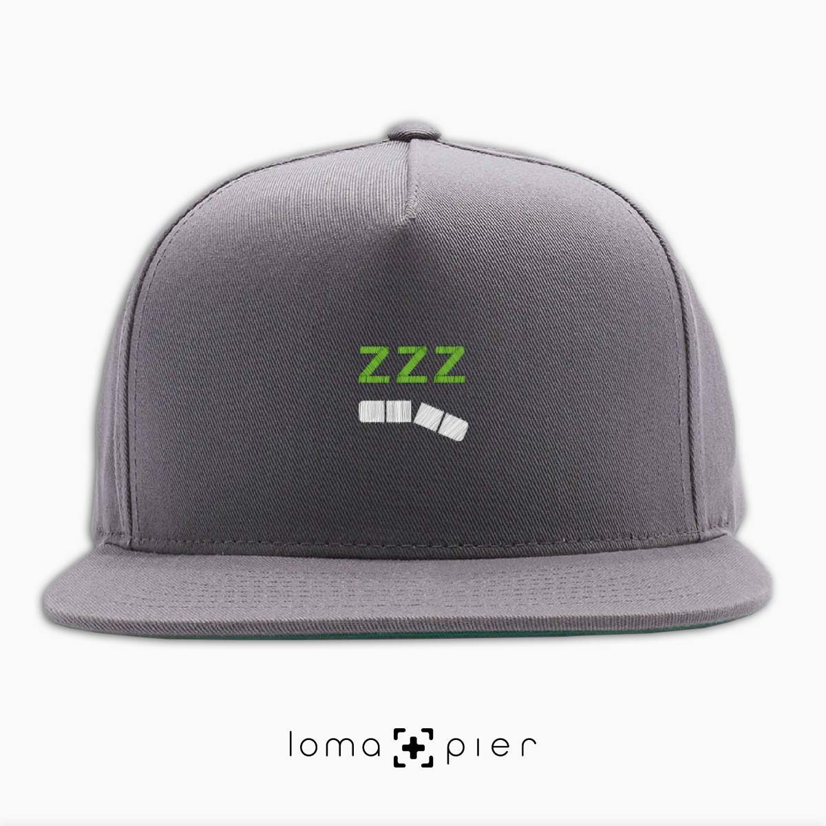 ZZZ-ANNY icon embroidered on a grey classic snapback hat with white and lime green thread by loma+pier hat store